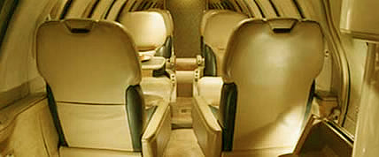 Interior de la Bravo Cita Private Jet