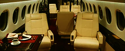 Interior de la Falcon 900 Jet Privado
